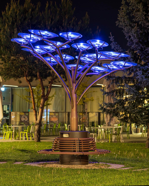 solar bench under a solar tree