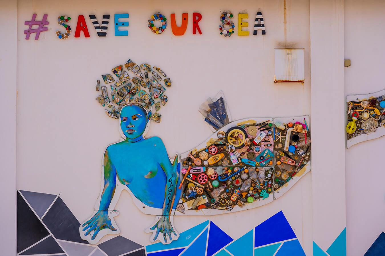 mural in Split harbour